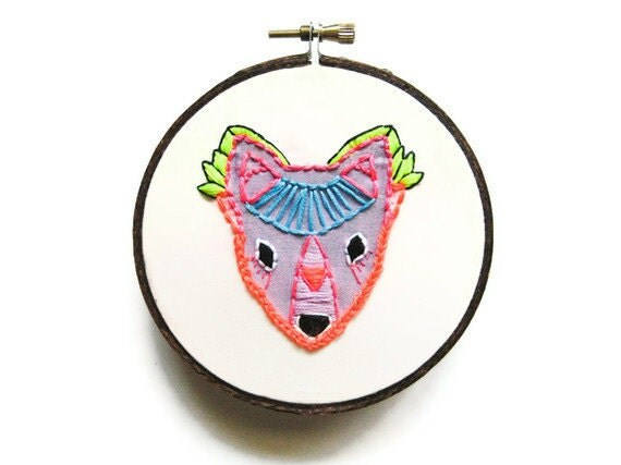 Purple Amethyst Fox Embroidery Hoop (with MountRoyalMint) - Bright Neon Autumn Fall Woodland Home Decor