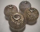20 Basketball Wives Silver Mesh Beads 16mm