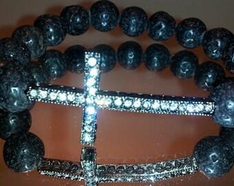 Mens Lava Beaded Bracelet with Crystal Cross