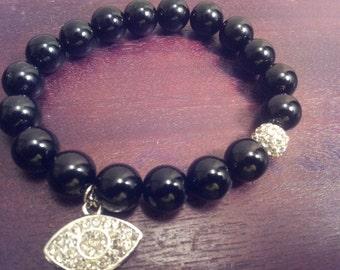 Black Onyx Beaded Bracelet with Crystal Eye Charm