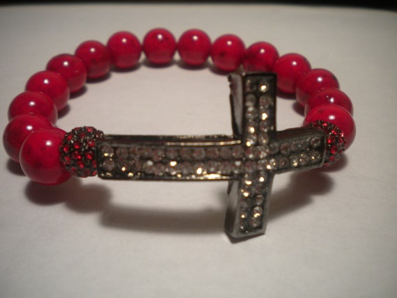 Red Beaded Bracelet with Crystal Cross