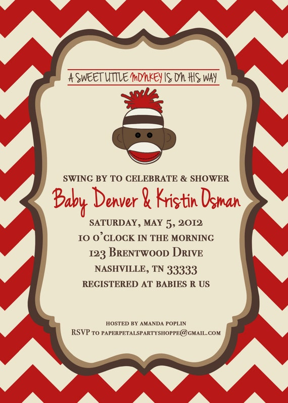 Reserved listing sonjan- Sock Monkey Invitation- Digital file