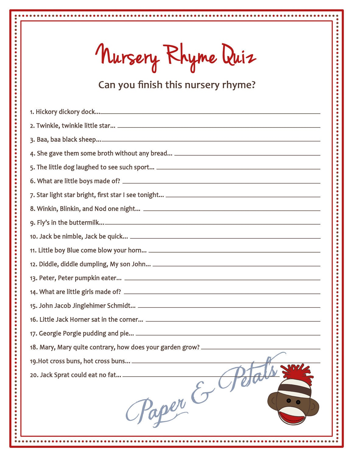 Sock monkey inspired baby shower nursery rhyme game printable - Divorce shoppe ...