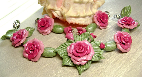 Roses Bead Set Pendant Necklace Earrings Polymer Clay FREE SHIPPING