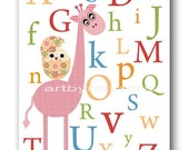 Art for Kids Room Kids Wall Art Baby Girl Nursery Room Decor Baby Nursery Print Nursery Alphabet Nursery Rose Pink Giraffe Baby Gift