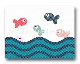Kids Wall Decor kids room decor Baby Room Decor Kids Decor Baby Decor baby Nursery print fish blue red rose kids artwork