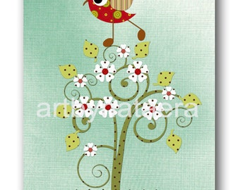 Art for Kids Room Kids Wall Art Baby Girl Nursery Room Decor Baby Nursery print Baby Girl Decor tree bird green blue red