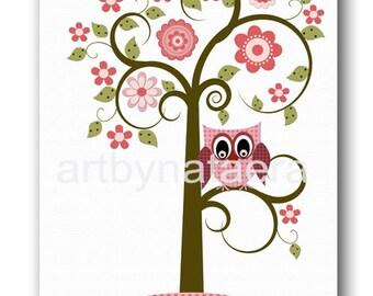 Art for Children Kids Wall Art Baby Girl Room Decor Baby Girl Nursery Owl Decor Kids Art Print Nursery Print Girl Baby Art Rose Green