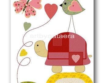 Art for Kids Room Kids Wall Decor Art Baby Girl Nursery Children Artwork Baby Artwork Baby Girl print turtle bird rose red green yellow