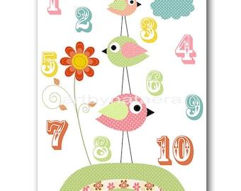 Baby Girl Nursery Decor Nursery numbers Nursery Baby Girl Room Decor girl decor Nursery print red pink blue green birds artwork
