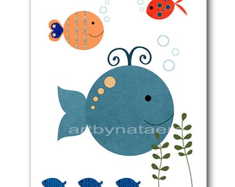 "Art for Children Kids Wall Art Baby Boy Nursery Room Decor Baby Nursery print Baby Boy Decor 8"" x 10"" fhish whale blue green"