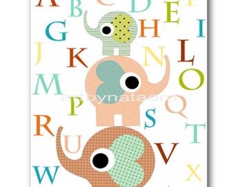 Art for Children Kids Wall Art Baby Nursery Decor Baby Boy Room Decor Baby Boy Nursery print art elephant alphabet baby shower gift