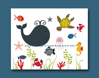 Art for Children Baby Boy Wall Art Kids Wall Art Baby Boy Nursery Art Baby Boy Room Baby Nursery Prints Boy Fish Whale Green Blue Navy