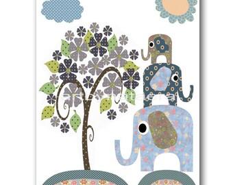 Baby Gift Baby Boy Wall Art Nursery Room Art Nursery Decor Boy Baby Boy Nursery Wall Art Nursery Art Print Elephants Tree Green Blue