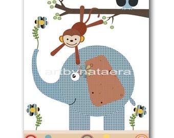 Kids Art for Kids Room Kids Wall Art Baby Boy Nursery Room Decor Baby Nursery Print Boys Print Elephant Monkey Tree Green Blue