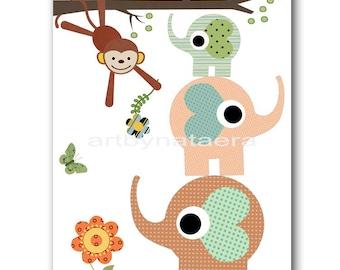 Baby Art for Children Kids Wall Art Baby Girl Room Decor Girl Nursery Prints Girl Artwork Baby Artwork Elephant Monkey Tree Green Blue