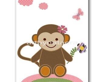 Monkey Nursery Decor Baby Nursery Art Baby Girl Wall Decor Baby Girl Nursery Baby Nursery Wall Art Children Wall Art Baby Nursery print