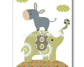 Baby Boy Nursery Art Nursery Wall Art Nursery Decor Baby Boy Room Decor Children Art Kids Art Nursery print elephant decoration