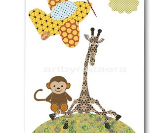 Kids Art for Kids Room Kids Wall Art Baby Boy Nursery Room Decor Baby Nursery Prints Boy Green Boy Print Giraffe Monkey Plane Artwork