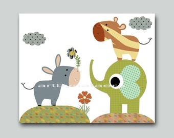 Baby Room Art Nursery Decor Nursery Room Decor Children Wall Art Kids Wall Decor Nursery Wall Print Kids elephant Kids zebra green