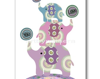 Baby Nursery Decor Elephant Kids Wall Decor Kids Room Decor Kids Artwork Baby Nursery Wall Art Nursery Art Print Purple Artwork Baby Art
