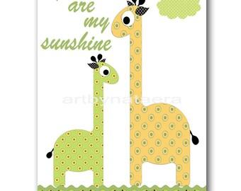 You Are My Sunshine Nursery art decor Kids Wall Decor Baby Girl Room Decor art print kids art Kids Artwork giraffe yellow green