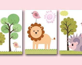 Art for Kids Room Kids Wall Art Baby Room Decor Nursery print set of 3 lion hedgehog tree birds green violet purple