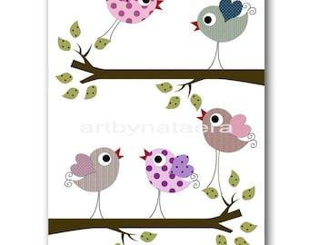Bird Decor Baby Girl Nursery Art for Children Kids Wall Art Baby Girl Room Decor Nursery Print Print Kids Room Tree Birds Violet Purple
