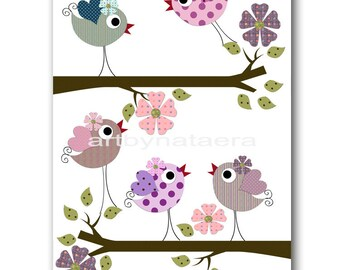 Bird Decor Art for Children Baby Nursery Decor Kids Wall Art Baby Girl Room Decor Baby Girl Nursery Print Baby Girl Wall Art Birds Rose