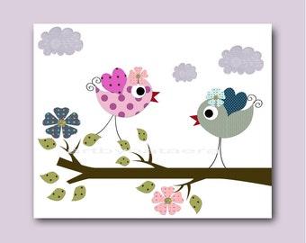 Bird Decor Art for Children Kids Wall Art Baby Girl Room Decor Baby Nursery Decor Baby Girl Nursery Print Baby Art Birds Violet Rose