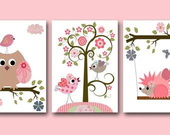 Canvas Owls Art for Children Kids Wall Art Baby Girl Room Decor Baby Girl Nursery Print set of 3 Kids Room Owl Decoration Tree Pink Green