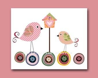 Kids art print nursery decor art print kids wall art Baby Girl Room Decor Baby Girl Nursery print art decoration birds pink