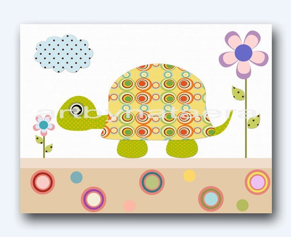 Baby Shower Gift Turtle Nursery Kids Room Decor Children Room Decor Baby Boy Room Decor Baby Nursery Art Print Turtle Decoration Yellow