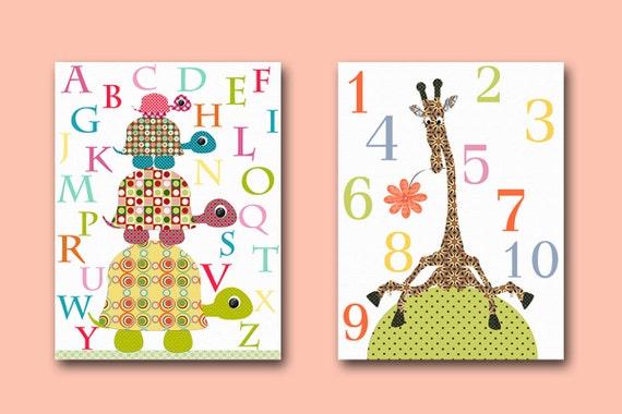Art for Childrens Wall Art Baby Girl Room Baby Girl Nursery print set of 2 pink Nursery numbers nursery alphabet nursery giraffe turtle
