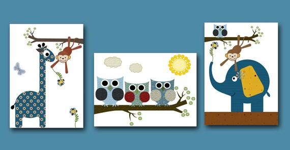 Art for Kids Room Kids Wall Art Baby Boy Nursery Room Decor Baby Nursery print set of 3 Boy Print elephant owls monkey giraffe blue