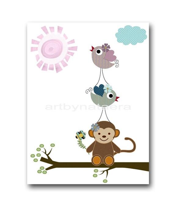 Art for Children Kids Wall Print Baby Boy Nursery Children Artwork Art Baby Artwork print monkey birds decoration violet purple blue