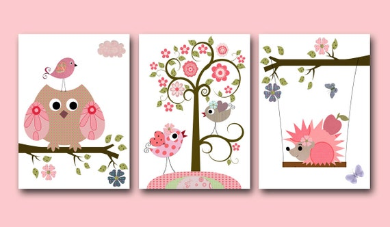 Childrens Wall Decor Canvas : Canvas owls art for children kids wall baby girl room