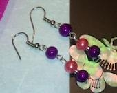 Earring UK Handmade Purple Peach Pearl Glass Silver Plated Hooks