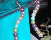 Pastel Earring UK Handmade Pearl Glass Coiled Snake-like Silver Plated Hooks