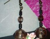 Earring Lampwork. UK Handmade Glass Bead with Antique Bronze Hooks