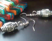 Earring UK Handmade Tibetan Silver Spark Plug-like Silver Plated Hooks