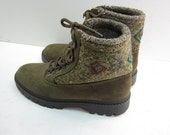 vintage lace boot 8 mens Made in Italy Wool winter boots 9.5 womens LL Bean sz 40 euro