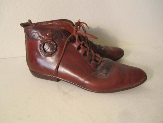Vintage brown leather flat lace up ankle granny boots grunge sz 8