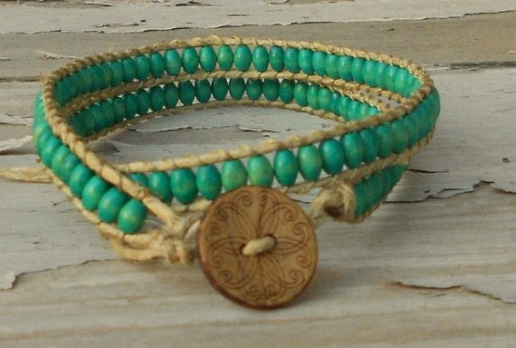 reserved for bethany: vegan beaded hemp wrap bracelet aqua teal wooden beads two wrap earth friendly