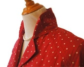 Vintage Polka Dot Dress Red and White Picnic Style Liz Claiborne collared womens dress