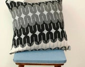 Handmade knitted cushion pillow cover Cream pattren and grey 19 inch