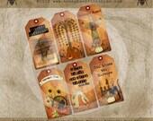 Printable Primitive Fall Autumn Harvest Pumpkins Hang Gift Bag Tags / Digital Download JPEG File- U Print DIY OFG