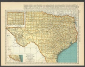 Vintage Map of Texas From 1937 Original