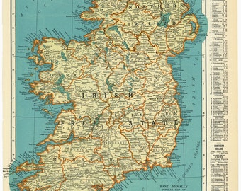 Vintage Map of Ireland From 1937 Original