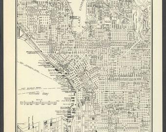 Vintage Map of Seattle Washington From 1937 Original